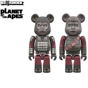 100% Bearbrick 2pack Planet of the Apes - General Ursus & Soldier Ape - 人猿星球(浩劫餘生) 100%小熊雙人組 - 將軍厄蘇斯 & 人猿士兵